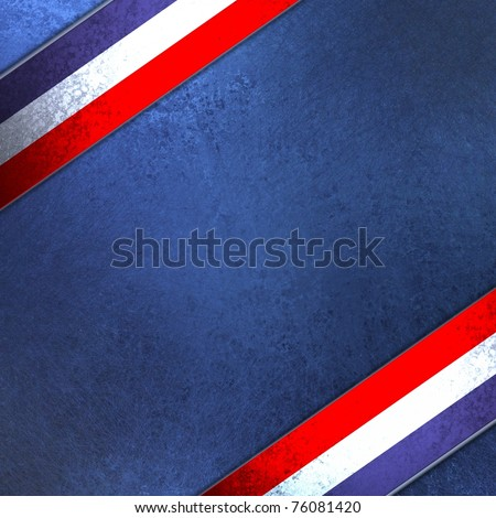 red, white and blue background illustration for July 4th or patriotic celebrations, with old antique grunge texture, colorful ribbon stripes, and copy space to add your own text or title - stock photo