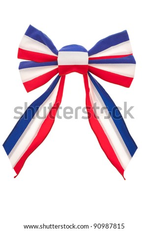 Red, white and blue bow isolated on white