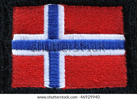 Red, White, and Blue Embroidered Flag of Norway