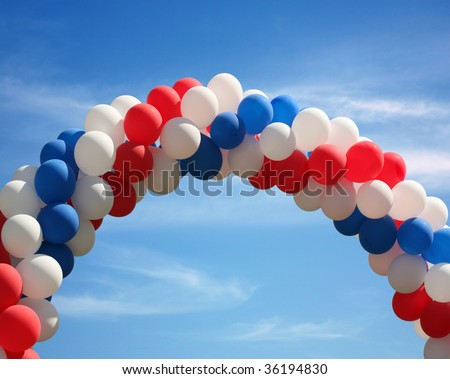 Red white and blue patriotic balloon arch background