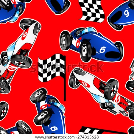 Red, white and blue racing cars seamless pattern .
