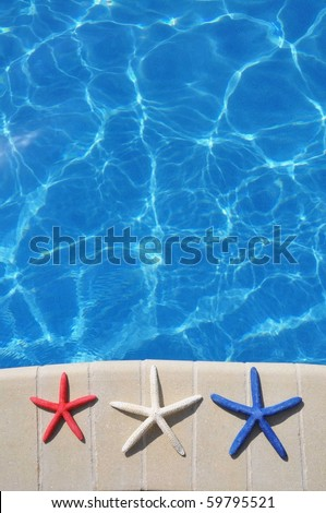 Red, White and Blue Starfish sitting by swimming pool. Room for your text, perfect for cover art.