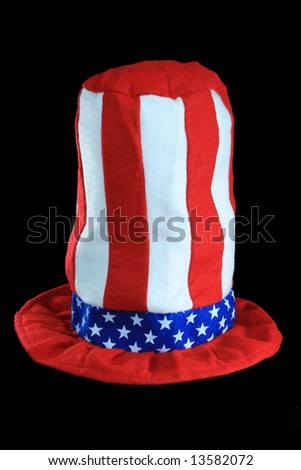 red, white, and blue top hat