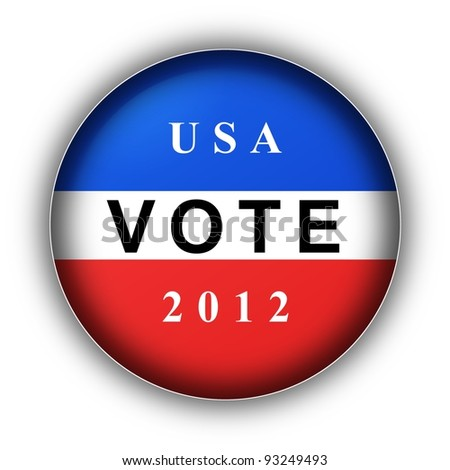 Red white and blue vote button for 2010
