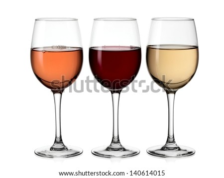 Red, white and rose wine glasses