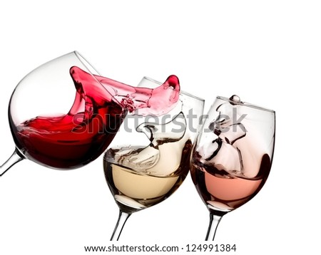 Red, white and rose wine plash