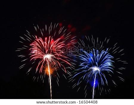 Red white blue color fireworks against black background