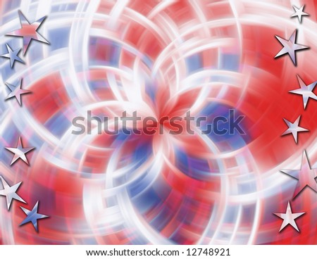 Red, white & blue swirling abstract blur background