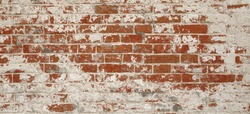 Red White Brick Wall Wide Texture Or Background. Old Shabby And Cracked Brickwall. Damaged Stonewall Surface. Vintage Brickwall Structure With Broken Stucco And Plaster. Abstract Banner