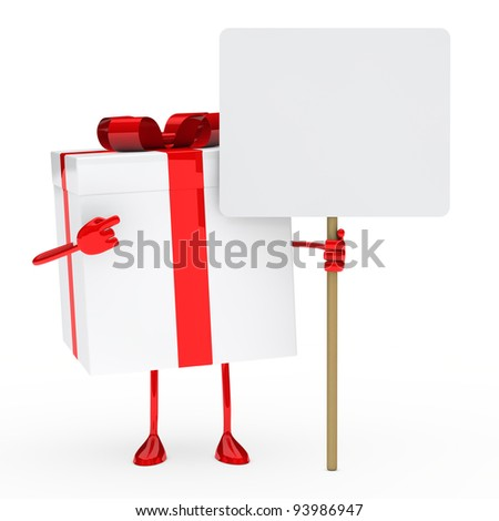 red white gift box hold a billboard