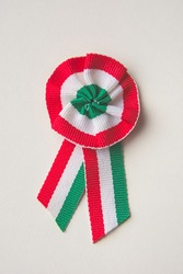 Red White Green Hungarian Cockade on White Background Closeup