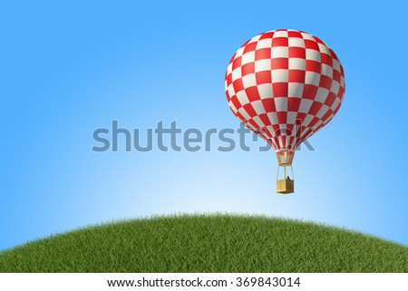 Red-white Hot Air Balloon in the blue sky. 3D render