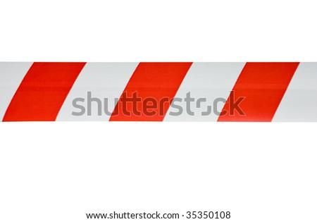 red white interdictory tape - stock photo
