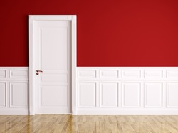 Red white interior with white classic door
