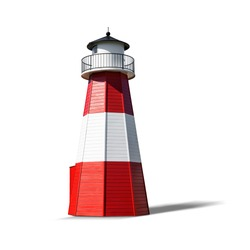 Red white lighthouse isolated on white background. Object with clipping path