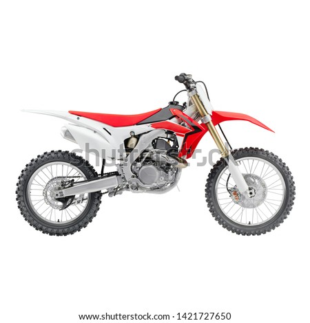 Red White Off Road Motorcycle Isolated on White Background. Modern Supercross Motocross Dirt Bike Side View. AWD All Wheel Drive Racing Sportbike. Personal Transport. 3D Rendering
