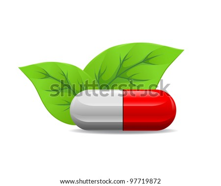 Red white pill lying near the leaves on a white background