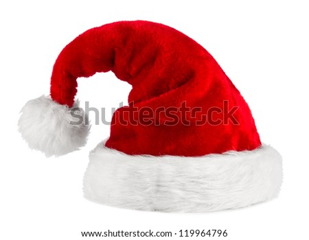 red white santa hat in front of white background