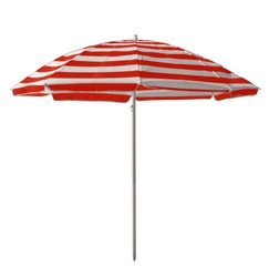 Red-white striped beach umbrella isolated on white. Clipping path included.