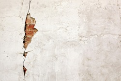 Red White Wall Texture. Old Cracked Plastered Brick Wall Background. White Red Stonewall Surface. Vintage Wall Structure With Peeled Plaster. Retro Grungy Red Brick Wall With White Damaged Stucco