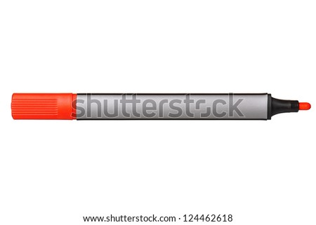 Red whiteboard marker isolated on white background