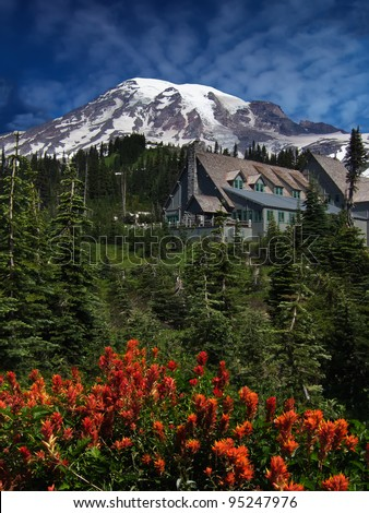 Red wildflowers in front of Paradise Inn Lodge at Mt Rainier, Washington.