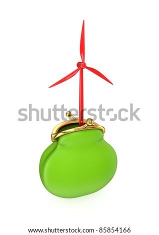 Red windmill in a green purse. Isolated on white background.3d rendered.