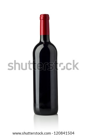 red wine and a bottle isolated over white background