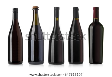 red wine and a bottle isolated over white background  #647915107