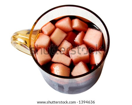 red wine and fruit drink. a chilled Spanish drink of red wine with pieces of fruit