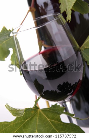 red wine and leaf