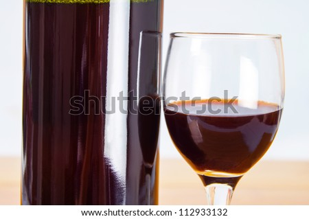 Red wine and red wine bottle close-up