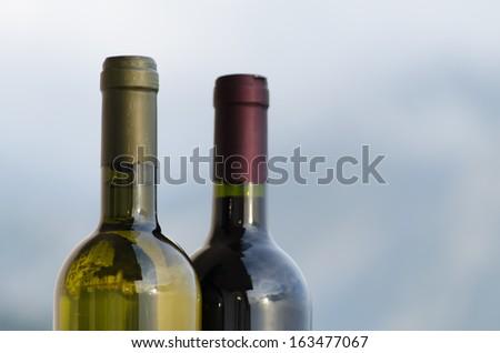 Red wine and white wine bottle necks