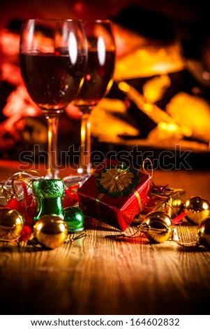Red wine at romantic fireplace #164602832