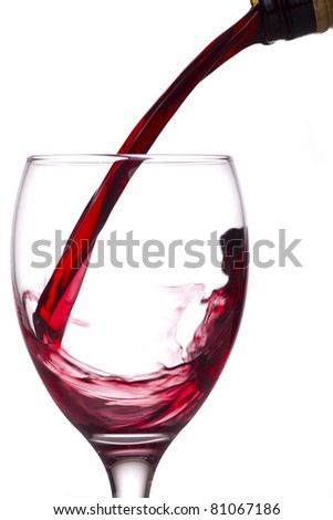 Red wine being poured from a bottle into a glass, white background.