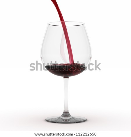 Red wine being poured into glass - Isolated on White