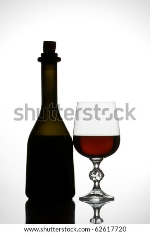Red wine - bottle and glass