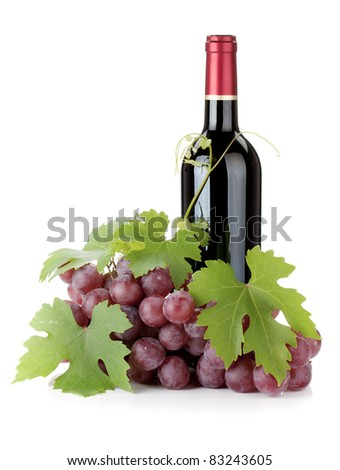 Red wine bottle and grapes. Isolated on white background