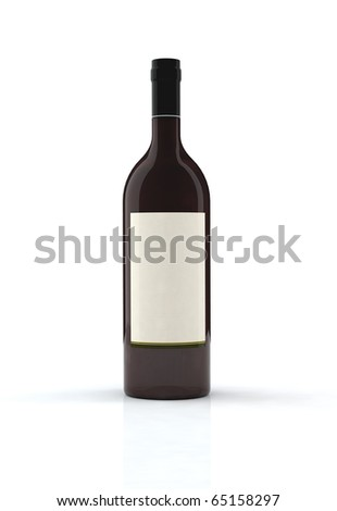 red wine bottle 3d illustration with blank label