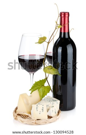 Red wine bottle, glasses and cheese. Isolated on white background
