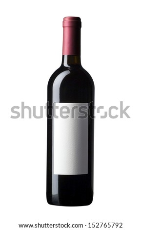 red wine bottle isolated, blind label