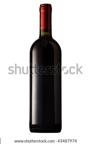 Red wine bottle isolated. Clipping path included