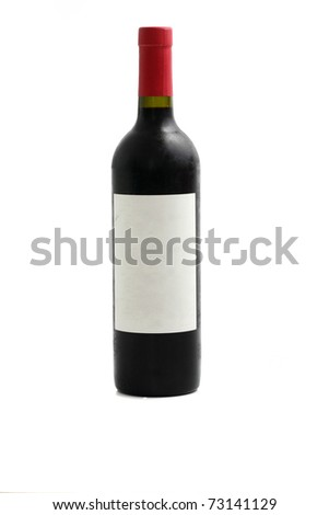 red wine bottle isolated in white background