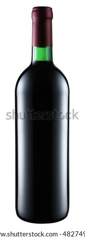 Red wine bottle isolated on a white