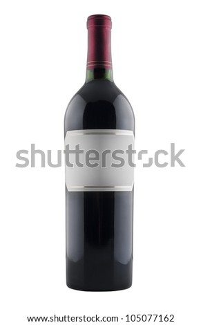 Red wine bottle, isolated on white