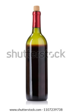 Red wine bottle. Isolated on white background #1107239738