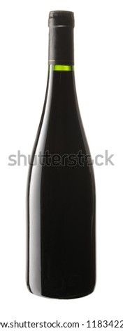 red wine bottle, isolated on white background
