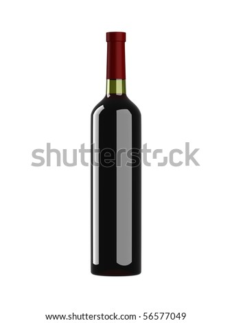 Red wine bottle isolated on white background - stock photo