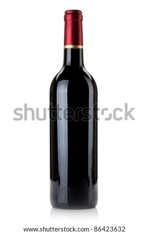 Red wine bottle. Isolated on white background - stock photo