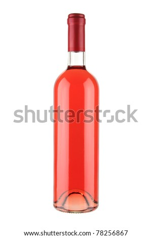 Red wine bottle isolated on white background with clipping path